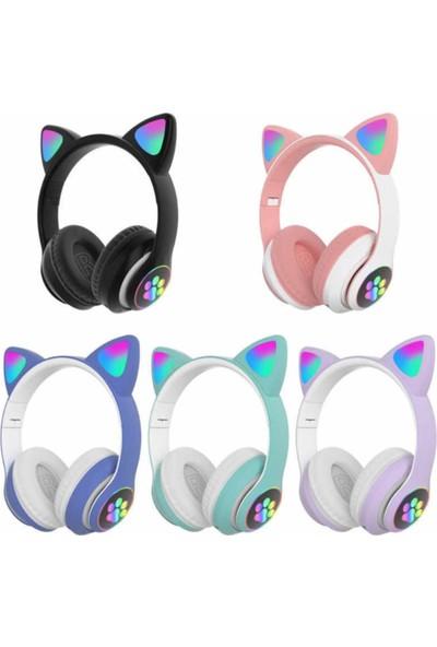Blupple Kedi Kulak Sevimli Kablosuz Bluetooth 5.0 LED Işıklı Kedili Şık Kulaküstü Kulaklık Kız Çocuk Raydolu Fm Siyah