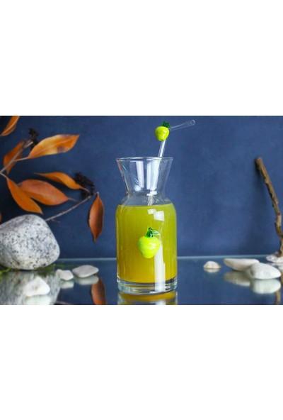 Adamodart Yeşil Elma & Ananas 2'li Sunum Karafı ve Cam Pipet Seti