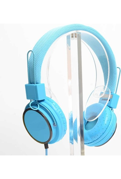 Blupple Kafa Bantlı Super Bass Mikrofonlu Kablolu 3.5mm Kulak Üstü Kulaklık Mavi Çocuk