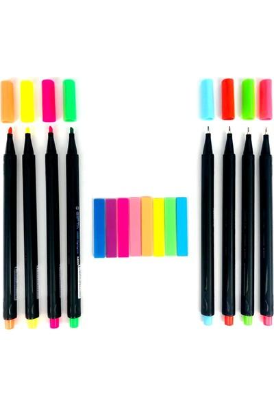 Gen-Of Gıpta 4 Renk Fosforlu 4 Renk Fineliner 8 Renk Indeks