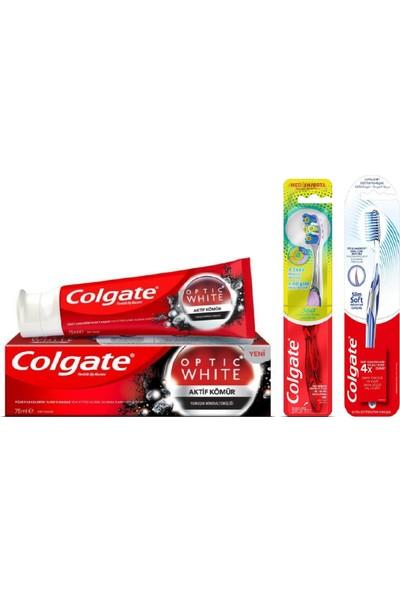 Colgate Optic White Aktif Kömür Diş Macunu 50 ml + 360 Gelişmiş 4 Yönlü Diş Fırçası + Diş Fırçası Slim Soft