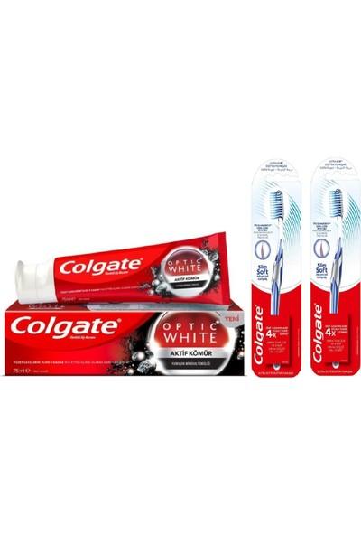 Colgate Optic White Aktif Kömür Diş Macunu 50 ml + 2 Adet Diş Fırçası Ultra Soft