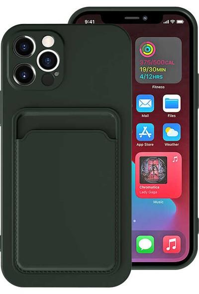 Coverzone Apple iPhone 12 Pro Dikişli Deri Görünümlü Kartlıklı Tpu Ofiks Kılıf Koyu Yeşil