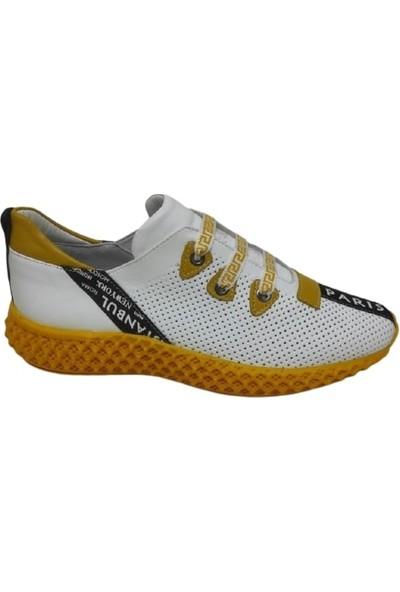 Arasleather Hakiki Deri Beyaz-Sarı Erkek Spor Ayakkabı 04518
