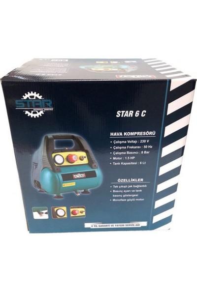 Attlas Star 6 C 8 Bar 6 Lt Profesyonel Monofaze Yağsız Kompresör