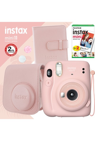 Instax Mini 11 Pembe Fotoğraf Makinesi ve Kare Albümlü Seti 11