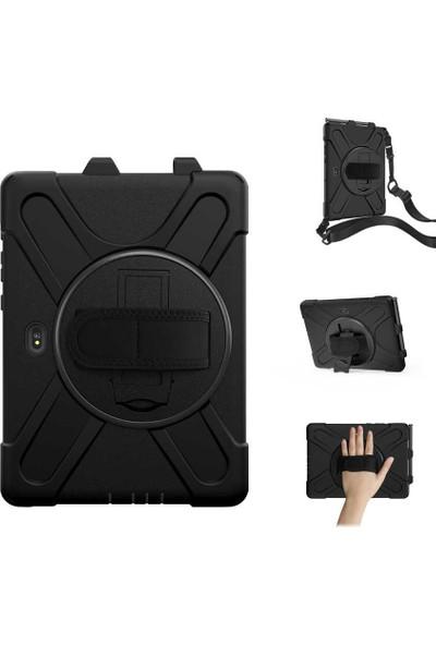 """HM11 Hm1 Samsung Galaxy Tab Active Pro SM-T547 T545 T540 10.1"""" Tank Zırh Özellikli Askılı Defender Tablet Kılıfı Siyah"""