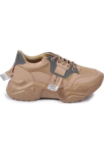 Park Moda 212 Z.ayk Vizon Suni Deri Kadın Spor Ayakkabı