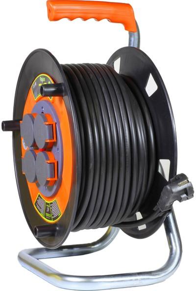 Bylion 40 Metre 3x2.5 mm Seyyar Makaralı Uzatma Kablosu 4 Kapaklı Prizli Termal Sigortalı