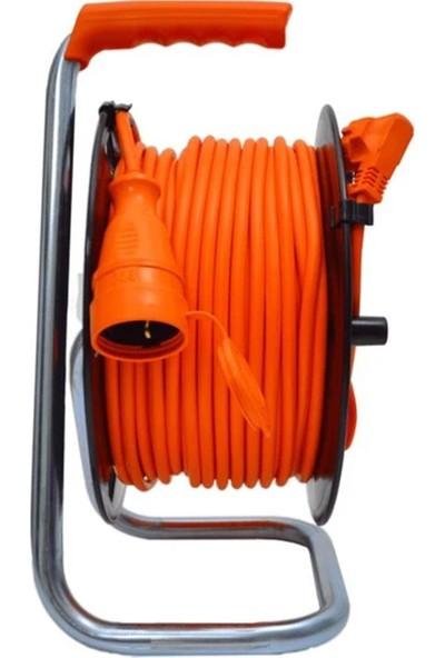 Bylion 50 Metre Seyyar Makaralı Uzatma Kablosu Dişi Fişli Bahçe Tipi Termal Sigortalı 3x1.5 mm + 2 Metre