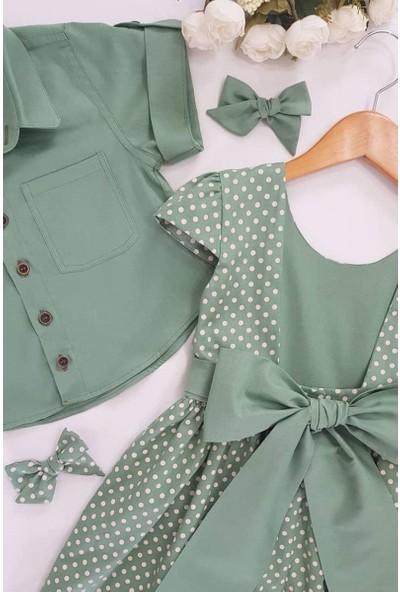 Riccotarz Kız Çocuk Puantiyeli Sırt Dekolteli Yeşil Elbise