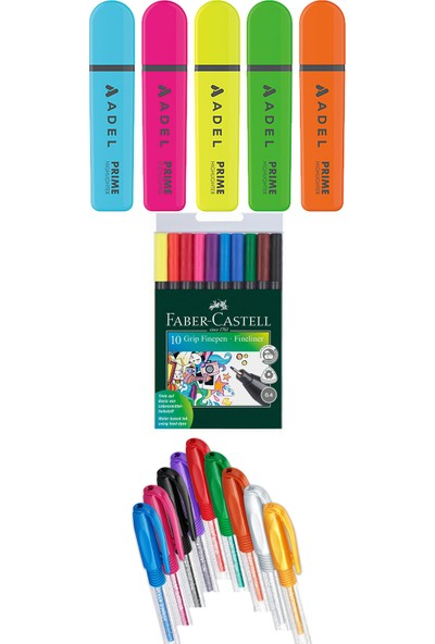 Adel - Faber Castell - Pensan 24 Renk Fosforlu Kalem Seti + Inn Boyanabilir Kalemlik Hediyeli