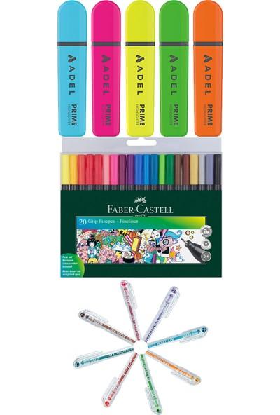 Adel - Faber Castell - Pensan 33 Renk Fosforlu Kalem Seti + Inn Boyanabilir Kalemlik Hediyeli
