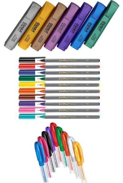 Osaka - Edding - Pensan 26 Renk Fosforlu Kalem Seti + Inn Boyanabilir Kalemlik Hediyeli
