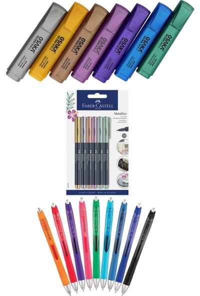 Osaka - Faber Castell - Serve 22 Renk Fosforlu Kalem Seti + Inn Boyanabilir Kalemlik Hediyeli