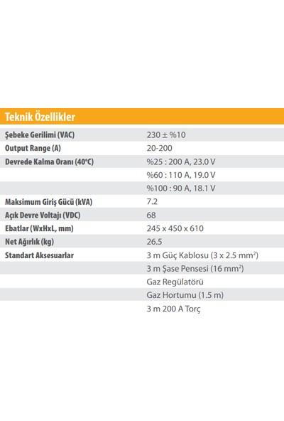 Kolarc M 200 C Pulse Rapid Gazaltı (Mıg), Örtülü Elektrod (Mma) ve Tıg Kaynak Makinası