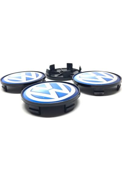 Oto Aksesuarcım Volkswagen Damla Geçme Jant Göbeği Siyah Mavi 4'lü 65/68MM