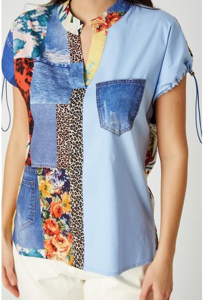 Patchwork Desenli Bluz