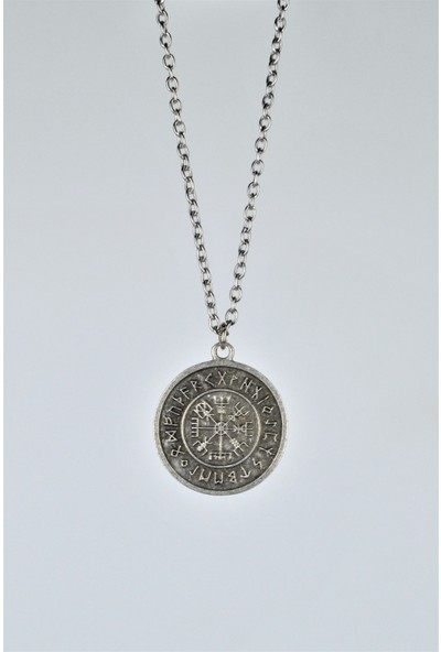 Bu Farklı Viking Pusula Madalyon Kolye Erkek Kadın Antik Gümüş Kaplama 60 cm Zincir