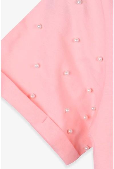 Breeze Kız Çocuk T-Shirt Baskılı Boncuklu Somon (8-14 Yaş)