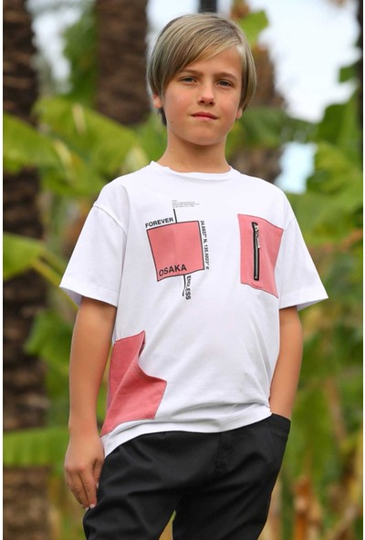 Jack Lions Erkek Çocuk T-Shirt Fermuar Detaylı Cepli Beyaz (5-14 Yaş)