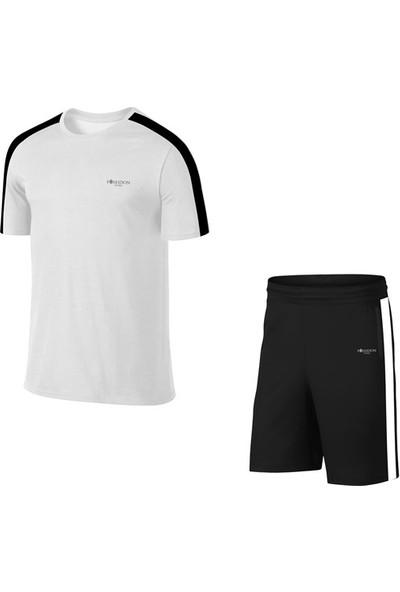 Büyük Beden Erkek Beyaz Günlük Sporcu Tişört ve Şort Takımı 4XL-10XL - Siyah Tek Bant Şerit - M2