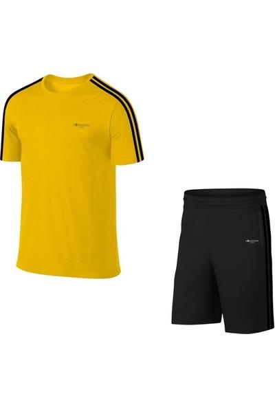 Büyük Beden Erkek Sarı Günlük Sporcu Tişört ve Şort Takımı 4XL-10XL Siyah Çift Şerit - M3