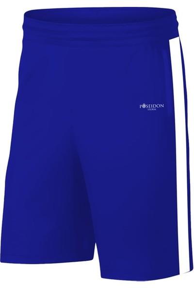 Büyük Beden Erkek Mavi Sporcu Tişört ve Şort Takımı 4XL-10XL - Siyah Tek Bant Şerit - M2