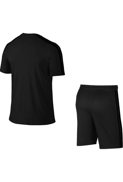Siyah Erkek Sporcu Günlük Tişört ve Şort Takımı S-3xl Siyah Çift Şerit - Md3