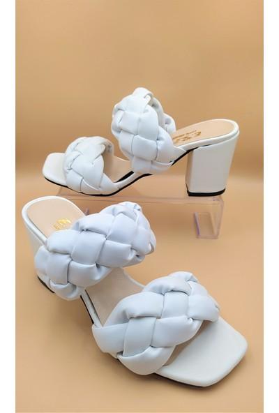 İpek Kadın Örgü Detaylı Beyaz 7 cm Topuklu Terlik