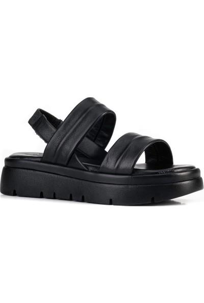 Cabani Deri Dolgu Taban Kadın Sandalet 211114 Siyah