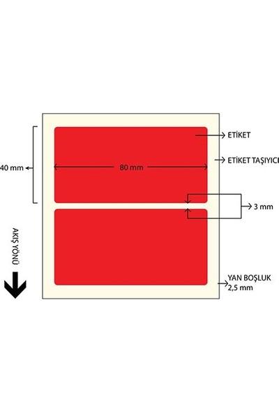 On Roll Paper 80X40 Kırmızı Renkli Termal Barkod Etiketi 1000'LI Sarım 10 Rulo Toplam: 10.000 Adet