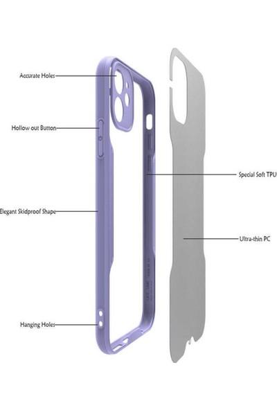 Zümrah Apple iPhone 12 Pro Kamera Korumalı Arkası Mat Şeffaf Kenar Korumalı Kılıf Kapak Ali Mavi
