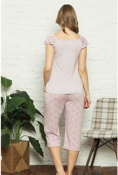 Alimer Kadın Gülkurusu Çizgili Desenli Bermuda Pijama Takımı 2571B