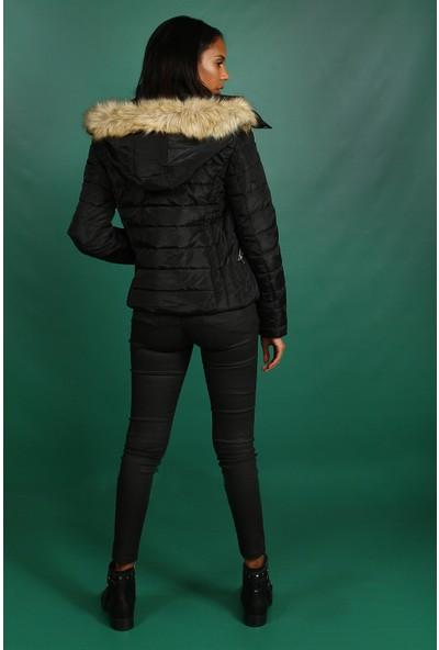 Collezione Siyah Kapişonu Kürklü Kısa Şişme Kadın Mont