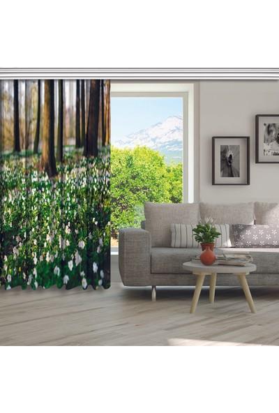 Henge Ilkbahar Çiçeklerromantik Doğa Manzaralı Fon Perde