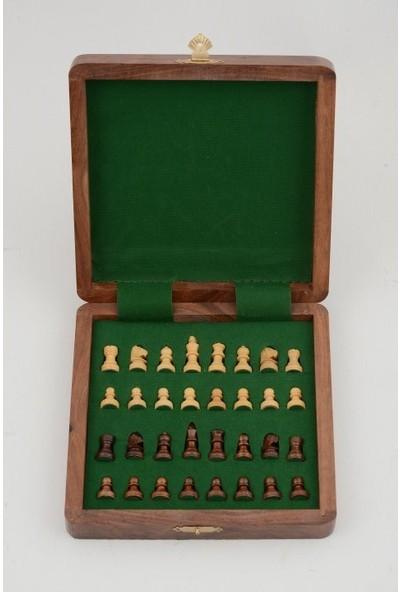 Frame Maun Ağacı Mıknatıs Taşlı Ahşap Katlanabilir Kutulu Satranç Oyunu