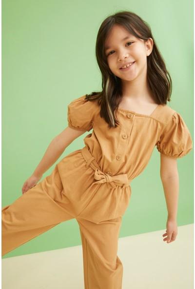 DeFacto Kız Çocuk Keten Görünümlü Kısa Kollu Tulum