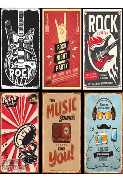 Hayal Poster Müzik Temalı 6lı Retro Ahşap Poster Seti