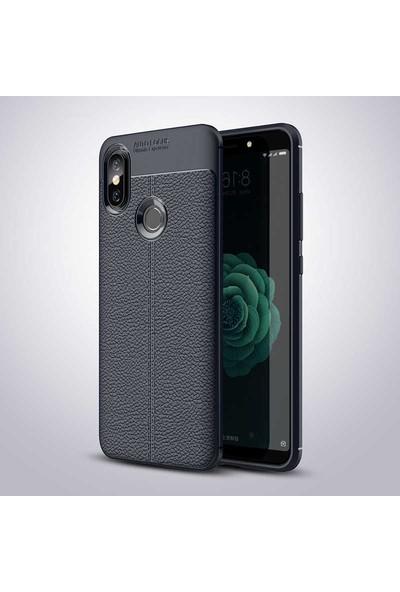 Nezih Case Xiaomi Mi 8 Se (Deri Görünüm) Silikon Kılıf Lacivert