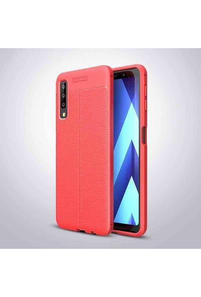 Nezih Case Samsung Galaxy A7 2018 (Deri Görünüm) Silikon Kılıf Kırmızı