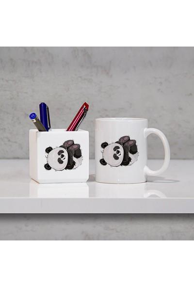 Hediyehanem Sevimli Panda Kupa Bardak ve Kalemlik