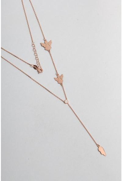 So CHIC Melek Figürlü 18 Ayar Rose Altın Kaplama Plaka Gümüş Kolye