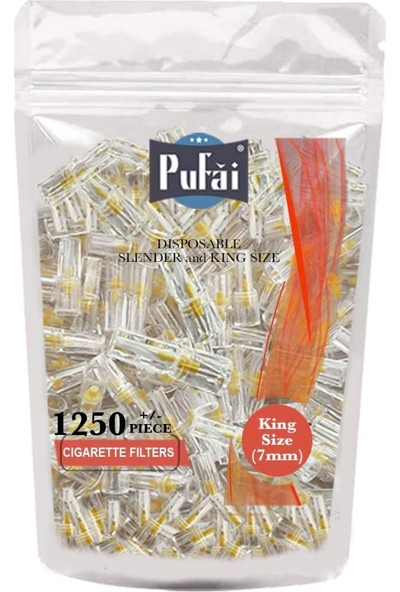 Pufai Slender Sigara Filtresi Tar Süzen 7Mm Uyumlu Ağızlık 1250 Adet