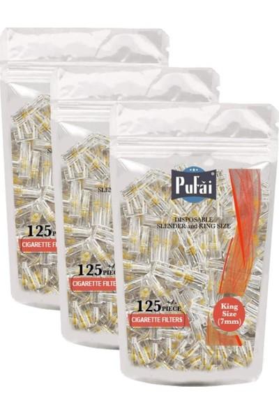 Pufai Slender Sigara Filtresi Tar Süzen 7Mm Uyumlu Ağızlık 375 Adet 3 Paket