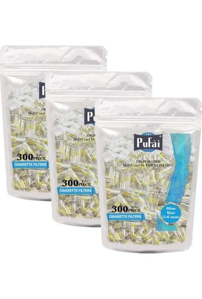 Pufai Süper Slim Sigara Filtresi Tar Süzen 5Mm 6Mm Uyumlu Ağızlık 900 Adet 3 Paket