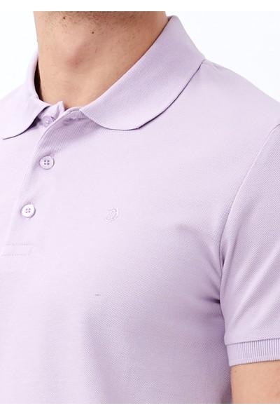 Adze Erkek Lila Slim Fit Basic Polo Yaka Tişört