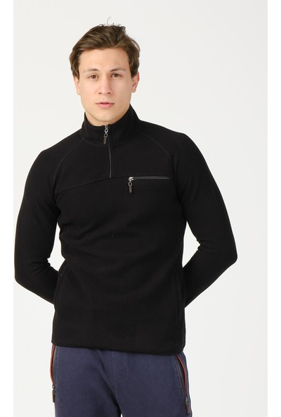 Adze Erkek Siyah Yarım Balıkçı Yaka Cepli Spor Sweatshirt