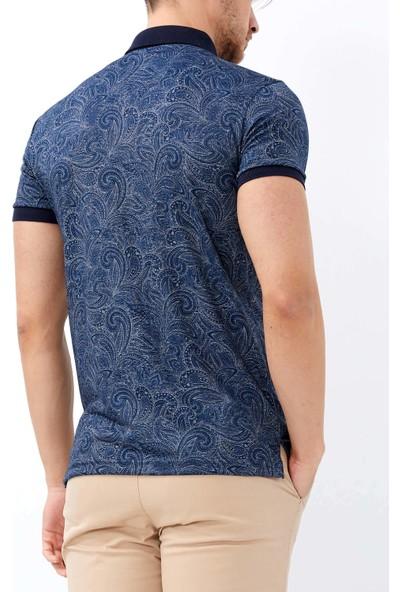 Adze Erkek Indigo Dijital Baskılı Slim Fit Polo Yaka Tişört