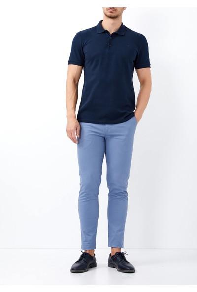 Adze Erkek Lacivertvert Slim Fit Basic Polo Yaka Tişört